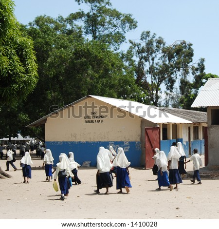 Children outside the school in Stone Town, tanzania, Africa - stock photo