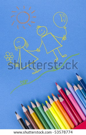 Children paint with pencils - stock photo