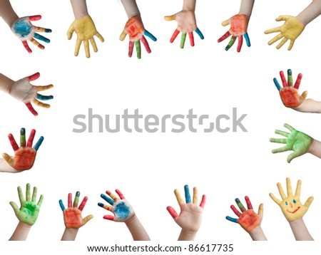 Children painted hands - stock photo