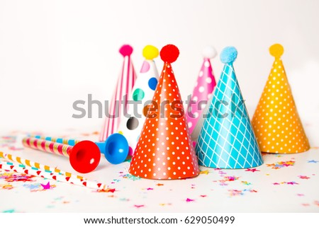 Children Party Background Birthday Colorful Hats For On A White