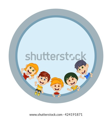 Children peeping behind placard cartoon image illustration