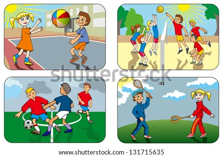 Children play different outdoor games, volleyball, soccer, badminton, hi-res raster from vector illustration - stock photo