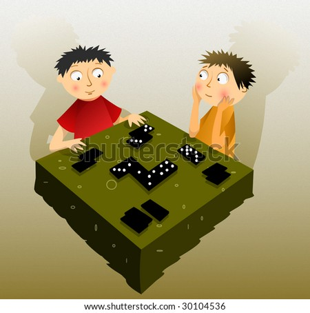 Children play domino - stock photo