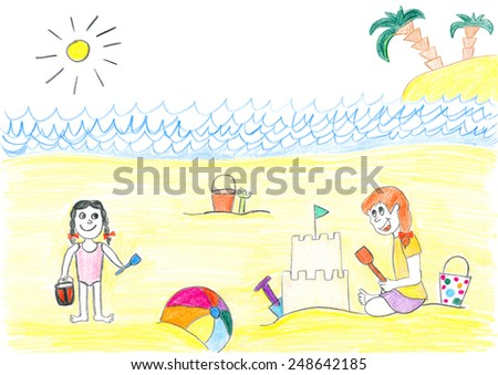 Children play on beach. Child's drawing. - stock photo