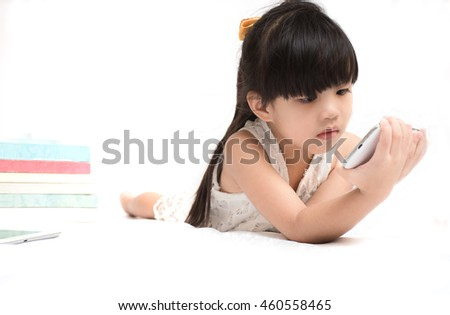 Children play Phone on white background