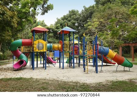 children playground equipment at botanical garden - stock photo