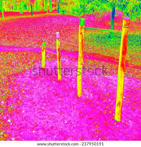 Children playground in amazing thermography colors. Wooden equipment for children plays, gym, entertaiment. - stock photo