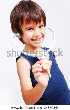 Children playing and learning in isolated background - stock photo