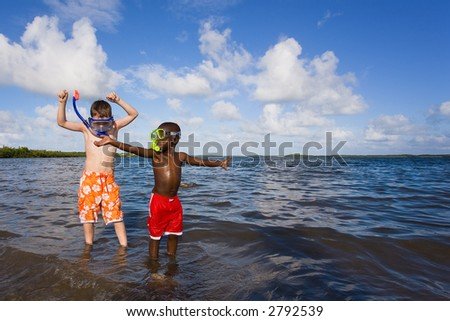 Children playing at the beach.