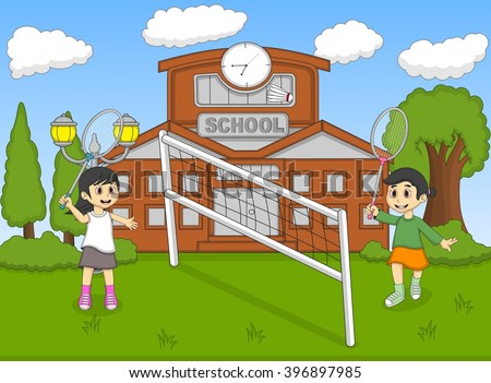 Children playing badminton cartoon image illustration