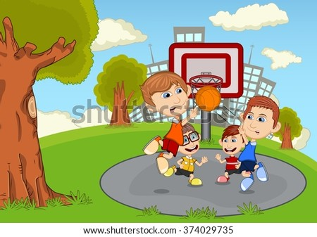 Colorful Park City Cartoon Children Playing Stock Vector ...
