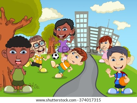 Children playing basketball, soccer in the park cartoon - stock photo