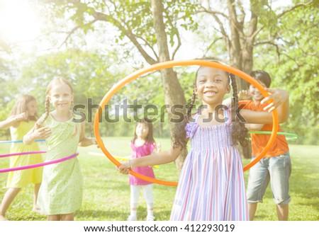 Children Playing child Childhood Friendship Concept - stock photo