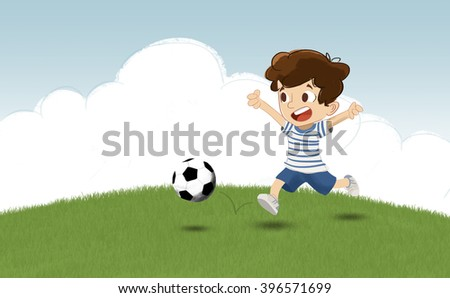 Children playing football in the park. He chases the ball in a grass field