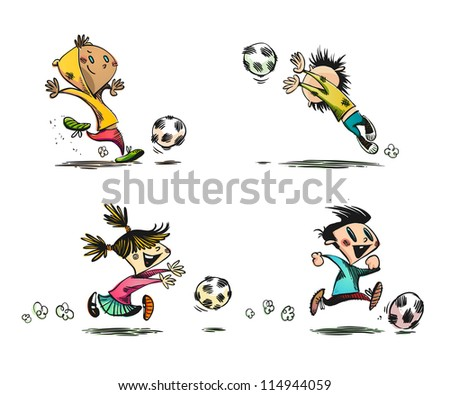 Children playing Football, Soccer and other Ball Games - stock photo