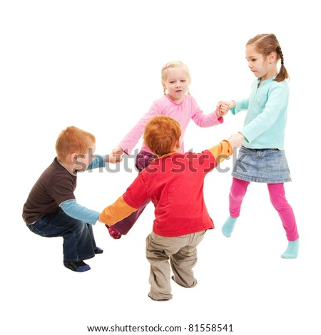 Children playing games holding hands in circle. Isolated on white.
