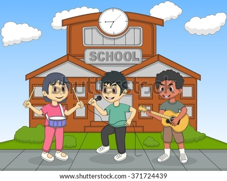 Children playing guitar in front of their school cartoon