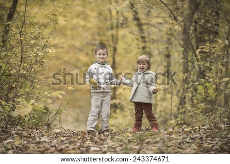 Children playing in a forest with yellow leaves