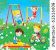 Children playing in a playground - stock vector