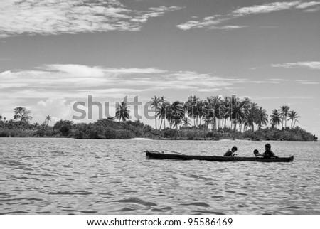 Children Playing in Panama, San Blas - stock photo