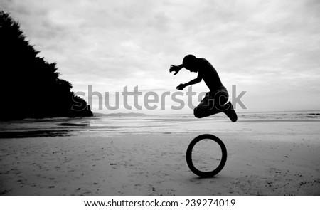 Children playing in the beach fun. - stock photo