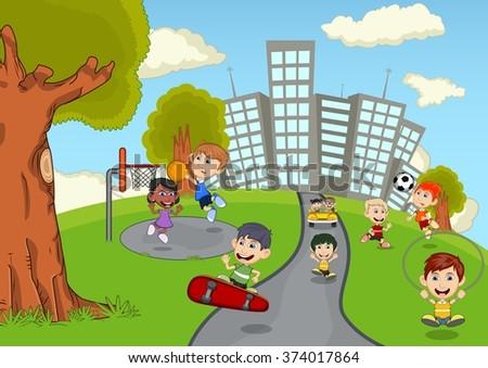 children playing park cartoon stock illustration 374017864