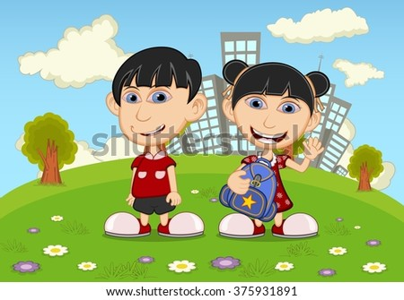 Children playing in the park cartoon - stock photo