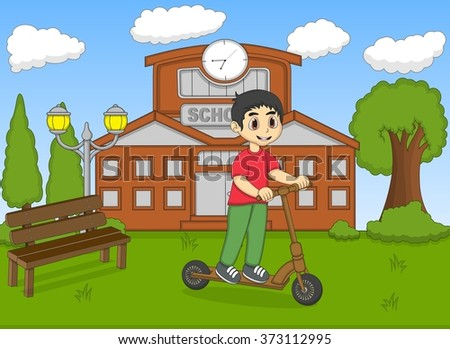 Children playing kick scooter in front of his school cartoon