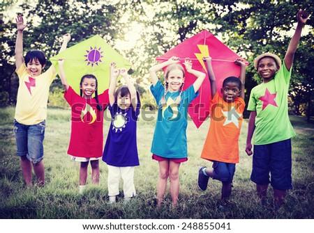 Children Playing Kite Happiness Bonding Friendship Concept - stock photo