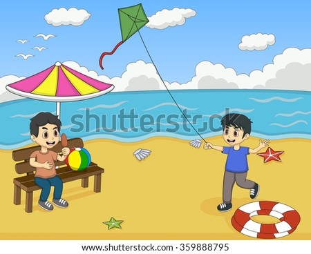 Children playing on the beach cartoon