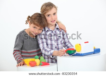 Children playing shop - stock photo