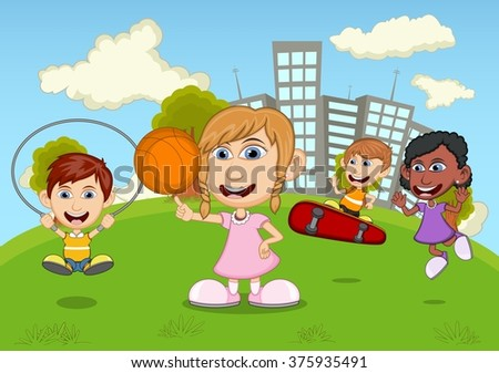 Children playing skateboard, basketball, jumping rope in the park cartoon - stock photo