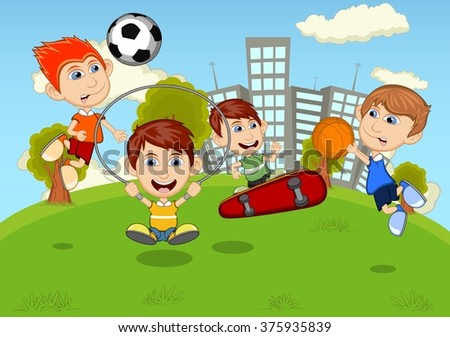 Children playing skateboard, basketball, jumping rope, soccer in the park cartoon - stock photo