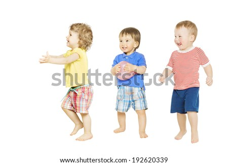 Children playing toys. Small Kids and Baby isolated white background - stock photo