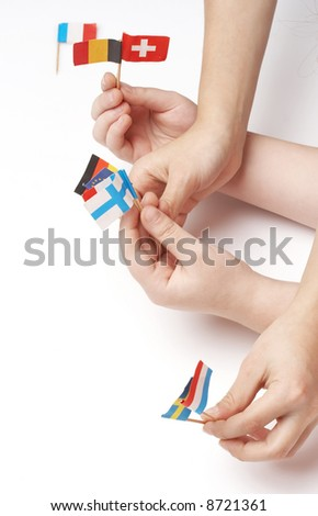 children playing with flags