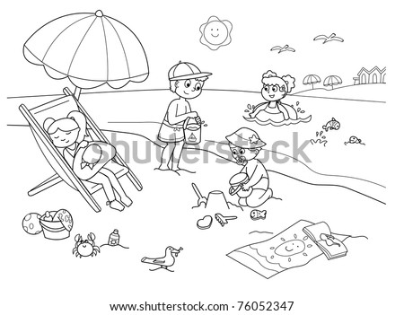 Children playing with the sand at the beach cartoon illustration in black and white