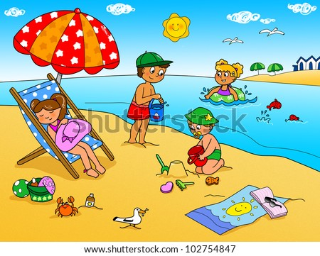 children playing with the sand at the beach summer holidays digital cartoon illustration for