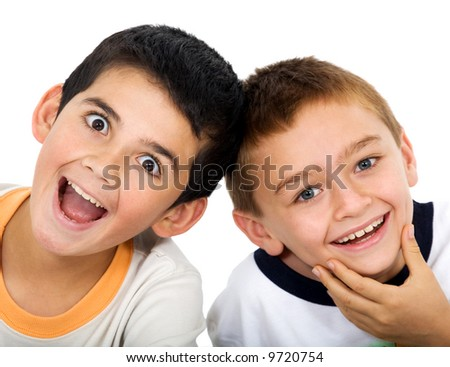 children portrait smiling isolated over a white background - stock photo