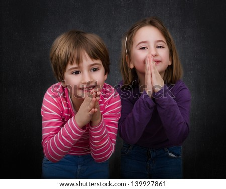 children pray and forgiveness - stock photo