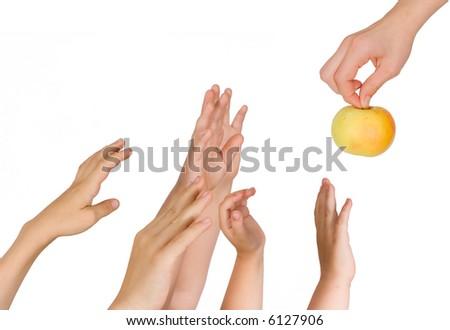 Children pull hands upwards - stock photo