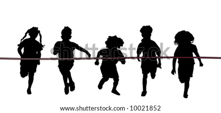 children racing - stock photo