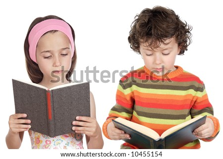 Children reading a book a over white background - stock photo