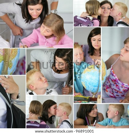 Children ready for school - stock photo