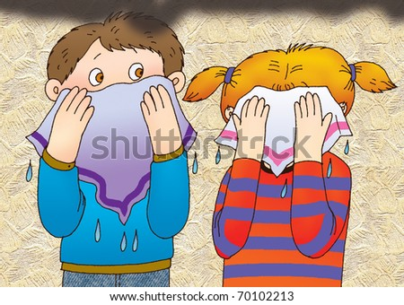 Children rescued from the smoke, clutching to face wet handkerchiefs - stock photo