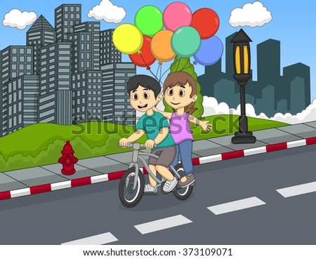 Children riding a bicycle on the street cartoon - stock photo