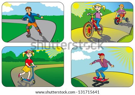 Children riding different vehicles and equipment, hi-res raster from vector illustration - stock photo