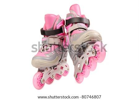 Children roller skates isolated on white background - stock photo