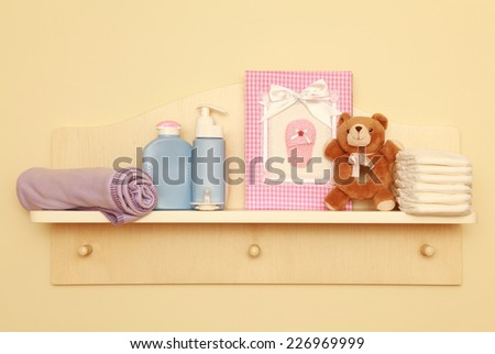 Children room concept on the wall - stock photo