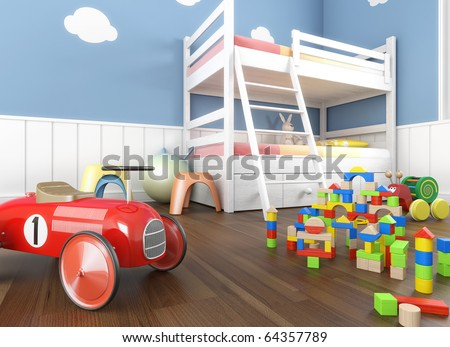 Children room in blue walls with bunk bed and lots of toys on the foreground