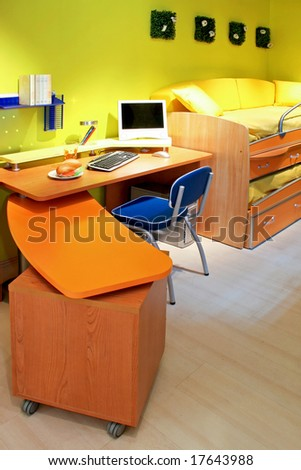 Children room with double bed and desk